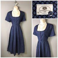 Vintage Nightingales Navy Cotton Dress UK 16 EUR 44