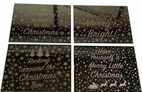 Set Of 4 Champagne Gold Mirror Glass Dazzling Christmas Table Place Mats
