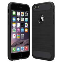 iPhone 6S Black Case.Shock Proof Flexible TPU Cover. Rugged Armour Carbon Fiber