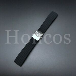 18MM RUBBER BAND STRAP SMOOTH FOR OMEGA SPEEDMASTER REDUCED 175.0032 BLACK WS