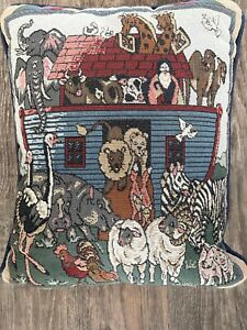 """Noahs Ark Decorative Tapestry Pillow """"And They Came Two By Two"""" 14.5"""" x 11.5"""""""