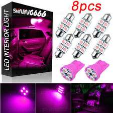8x Pink LED Bulb Map Dome License Plate Light Interior LED Package T10 W5W 31MM