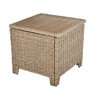 Hampton Bay Outdoor Accent Table UV-Protected Steel-Frame Wicker-Tabletop Tan