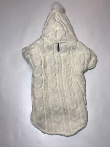 NEW Cream Hooded Dog Cable Warm Winter Knit Sweater Coat Jacket Size Small