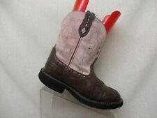 Justin Gypsy Ostrich Print Brown Leather Pink Suede Cowboy Boot Sz 8.5 B- L9935