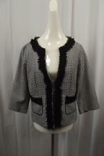 White House Black Market Womens Blazer Jacket 14 Dress Coat Suit Ruffled Beaded