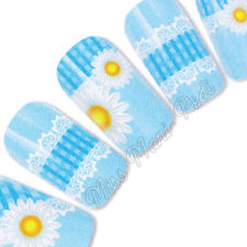 Nail Art Water Slide Decals Transfers Stickers Wraps Daisies Gingham & Lace Y106