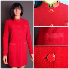 STUNNING ST.JOHN TEXTURED KNIT TOPPER/LONG JACKET, BRIGHT RED,SZ 6/8,CHIC!