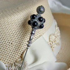 Hatpin with Black Round Beads on Rare Tibetan Pewter Finish