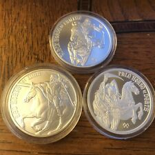 3 silver rounds Red Horse Of War Black Famine Pale Death  Four Horsemen 999
