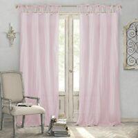 "New | Elrene Home Fashion Jolie 52 x 84"" Tie Loop 1 Curtain Panel - Blush / Pink"
