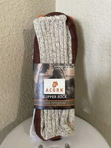 Acorn Slipper Sock Light Grey Ragg Wool Size X-Large Men's 10.5 to 11.5 New