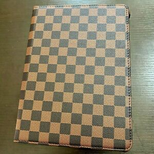 """iPad PRO 12.9"""" (2020 model only) Brown Checkered Plaid Stand Cover Case Pouch"""