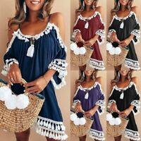 Vintage Women's Off Shoulder Tassel Casual Loose Summer Beach Mini Short Dress