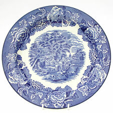 Vintage Woods Ware English Scenery Blue White Dinner Plate