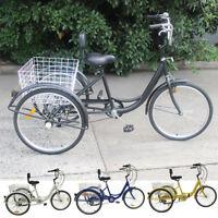 "Adult 7-Speed Adult 24"" 3-Wheel Tricycle Trike Bicycle Bike Cruise With BasBLUS"