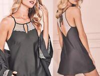 Marks & Spencer Ladies Nightie / Strappy Satin Lace Chemise dark Grey
