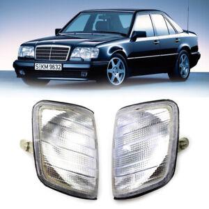 Clear Corner Lights Parking Lamps PAIR For 1985-1995 Mercedes-Benz E-Class W124