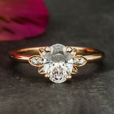 1.15 Carats Oval Cut Moissanite Engagement Ring in 18k Solid Rose Gold