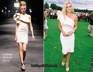 LANVIN Ruffled One Shoulder Linen Blend Mini Dress Bridal Wedding Event