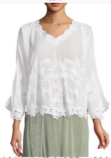 NEW XCVI Plus Size Embroidered White Lagenlook Tunic Blouse Top 1X