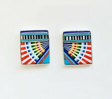 LOVELY TURQUOISE MULTICOLOR OPAL KACHINA CHANNEL INLAY 925 SILVER STUD EARRINGS