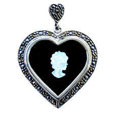 CAMEO ONYX HEART PENDANT Mother-of-Pearl Cameo Marcasite .925 STERLING SILVER