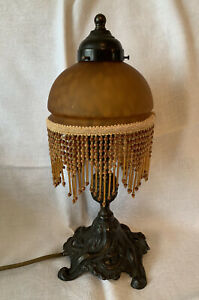 Art Deco Style Table Lamp With Beaded Shade