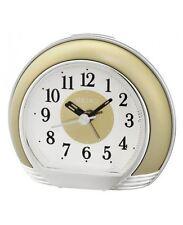 Seiko Desk / Table Alarm Clock Round Shape WHITE/GOLD 12 MONTHS WARRANTY