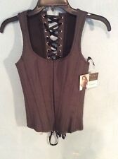 Black Pin-Striped Lace-Up Back And Hook & Eye Front Corset