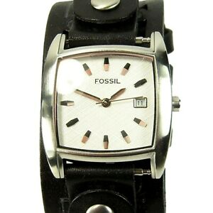 FOSSIL women's watch Rounded Sq. White Dial Date Wide black leather (SEE VIDEO)