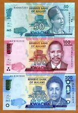 Set, Malawi, 50;100;200 Kwacha, 2016, P-New, UNC