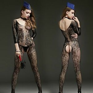 Lady Lace Leotard Catsuit Erotic Crotchless Net Floral Sheer Hollow Out Bodysuit
