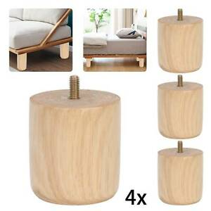 4x Wooden Sofa Legs replacement tapered feet for stool bed chair TURNED WOOD