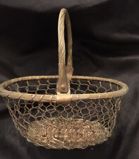 Vintage Oval Brass Metal Woven Gathering Basket with Hinged Copper Handle