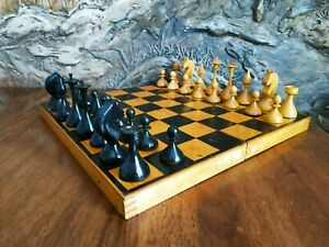 Wooden old chess set 1962 made vintage USSR white black chessmen pieces soviet
