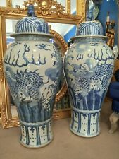 More details for pair blue and white porcelain temple jars vases large 4ft