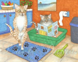 Archival Art Print Poster Funny painting Cat 538 bath bathroom by Lucie Dumas
