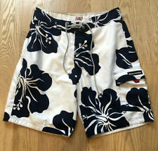 Abercrombie & Fitch Mens Swim Trunks Board Shorts Floral White Blue Size 32