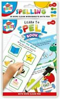 A5 Kids Wipe-Clean Learning Worksheets with Pen-Learn to Spell Book 20 Pages
