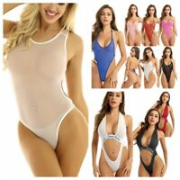 Women One-piece Bikini Swimwear See Through Swimsuit Bathing Monokini Bodysuit