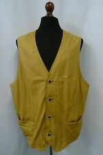 Men's Vintage Leather Waistcoat Gilet Vest 48 XXL