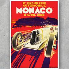 A3 A6 Vintage Motorsport Poster - MONACO 1930 - Retro Car Racing Grandprix Print