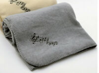 "Fleece Blanket - Music Notes Throw 50"" x 60"" - Gray with black musical notes"