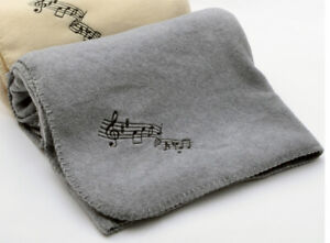"""Fleece Blanket - Music Notes Throw 50"""" x 60"""" - Gray with black musical notes"""