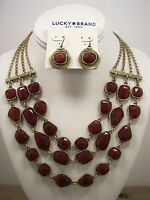 Lucky Brand Carnelian Triple Strand Gold Tone Necklace and Earring Set MSRP $78