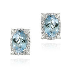 Rhodium Plated 8.8ct Blue Topaz & CZ Oval Earrings