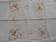 Vintage Ecru Cotton Machine Embroidered Tablecloth Supper Cloth 86cm x 82cm