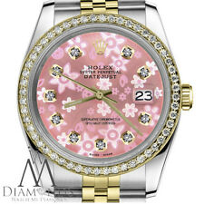Women's Rolex 36mm Datejust 2 Tone Pink Flower Mother of Pearl Dial with Diamond