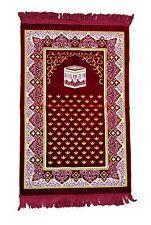 Large Prayer Rug Dark Red Kabah Design 27x42in Salat Rug Prayer Mat Muslim Namaz